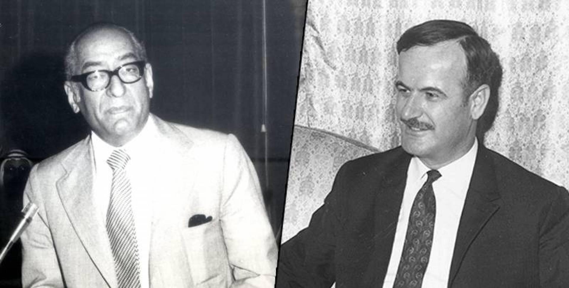 الرئيس الصوري حافظ الأسد وعبدالعزيز حسين وزير الدولة لشؤون مجلس الوزراء الكويتي.. صورة أرشيفية