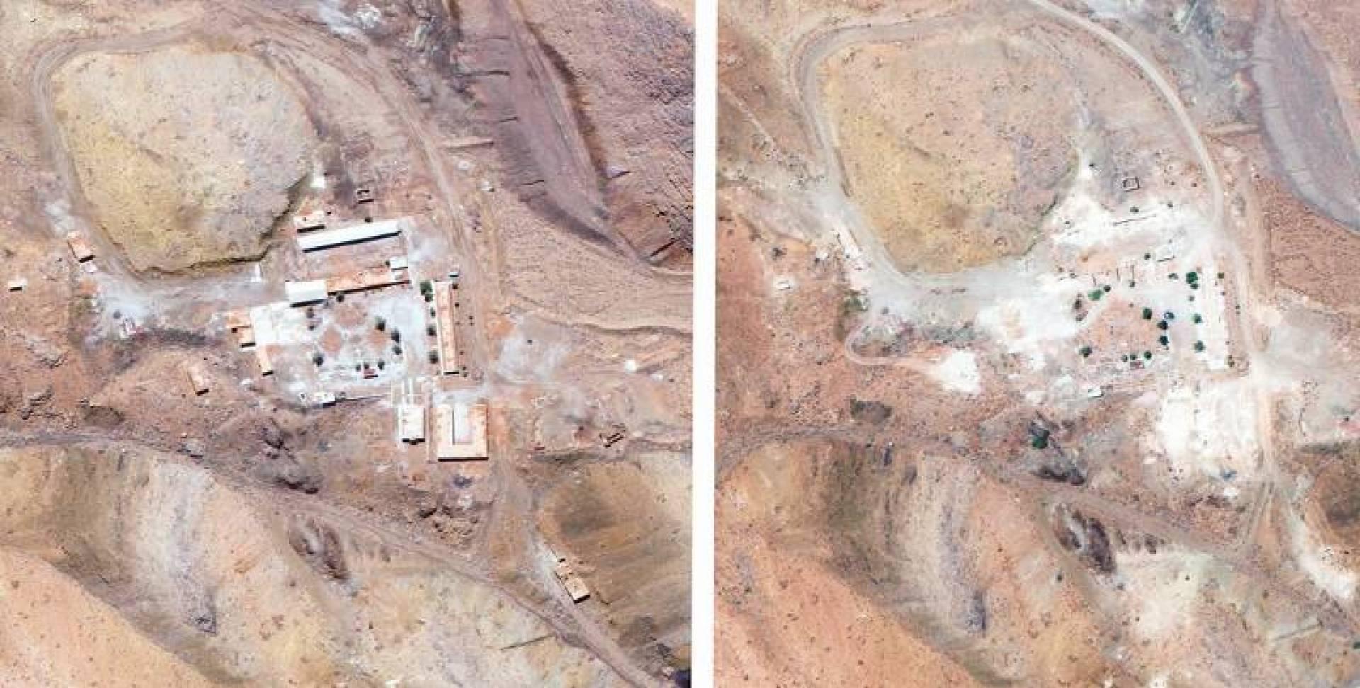 صورتان نشرتهما «مكسار تكنولوجي» تظهران الموقع النووي الايراني الذي تحدث عنه نتانياهو، الاولى التقطت في 27 مارس والثانية التقطت في 12 اغسطس وتظهره مدمرا  | ا ب