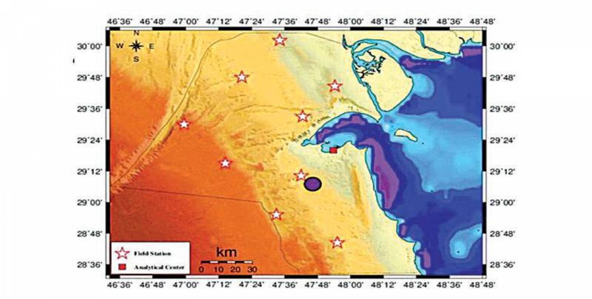 خريطة الزلزالين اللذين رُصدا أمس في الكويت
