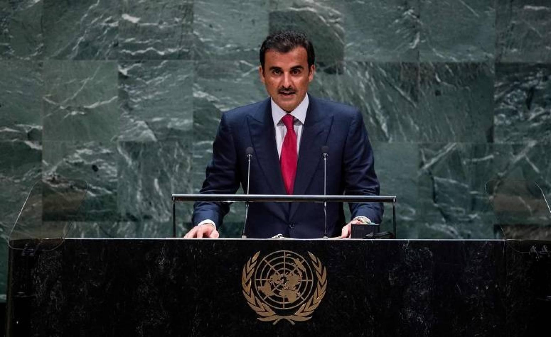 أمير قطر يلقي كلمة أمام الجمعية العامة للأمم المتحدة