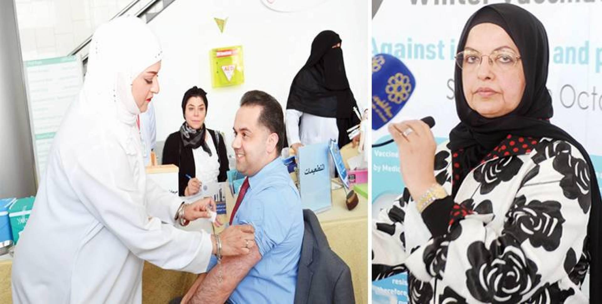بثينة المضف - تطعيم الناطق الرسمي لوزارة الصحة | تصوير هشام خبيز