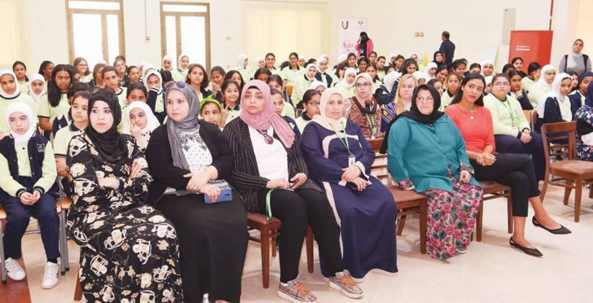 جانب من ندوة حملة «كان» في مدرسة الشهيدة أسرار القبندي| تصوير هشام خبيز