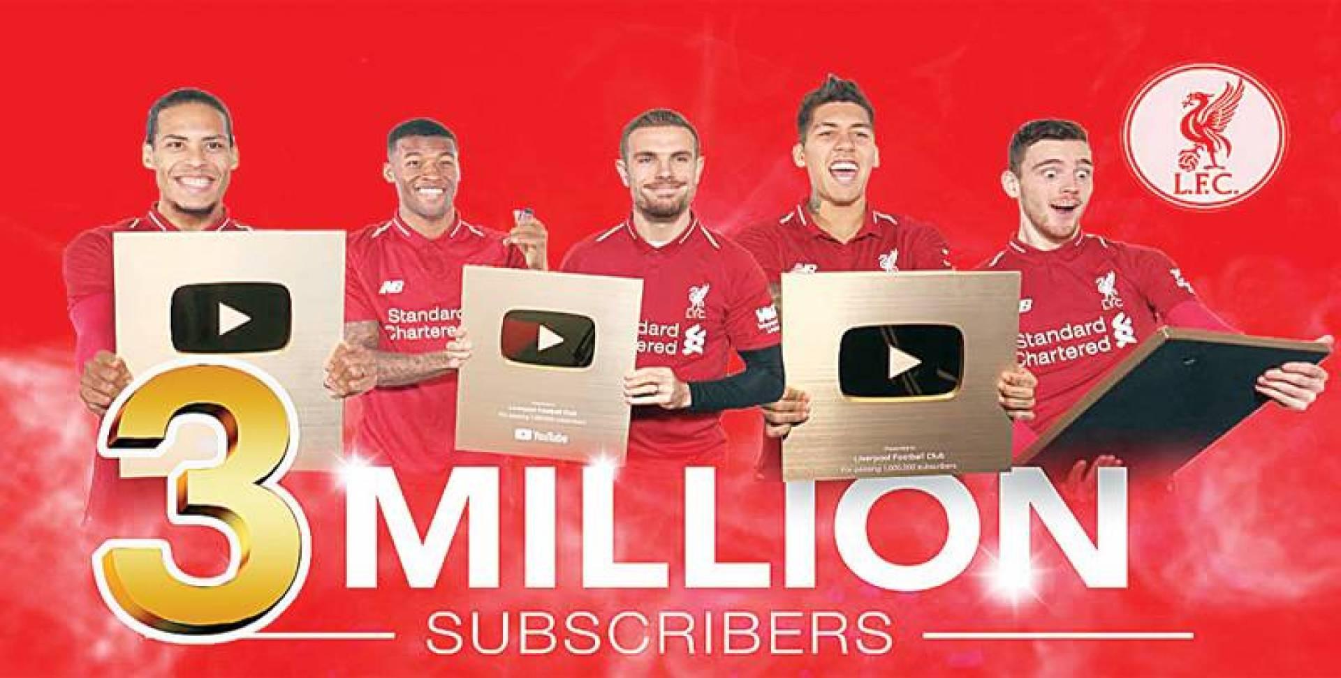 5 ملايين دولار.. أرباح ليفربول من «يوتيوب»