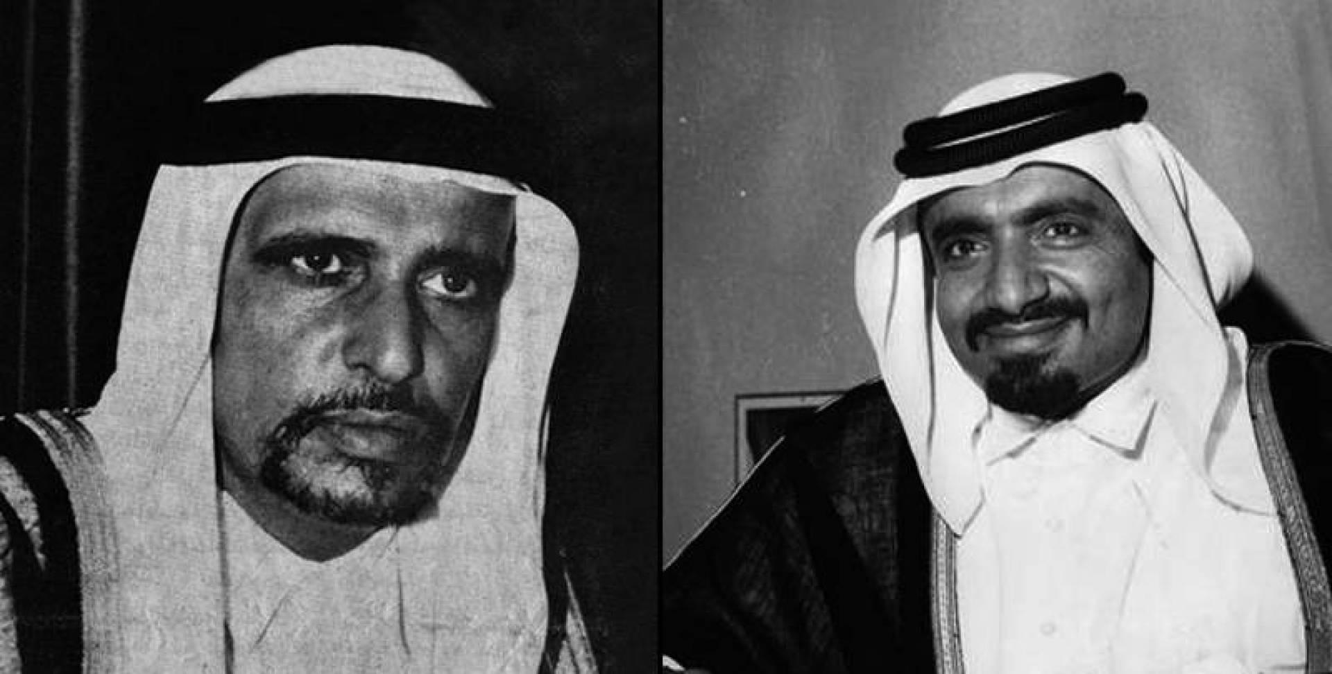 من اليمين: الشيخ خليفة بن حمد آل ثاني والشيخ أحمد بن علي آل ثاني.. أرشيفية