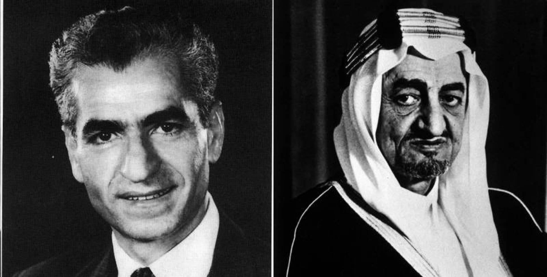 من اليمين الملك فيصل ثم شاه إيران الراحل.. أرشيفية