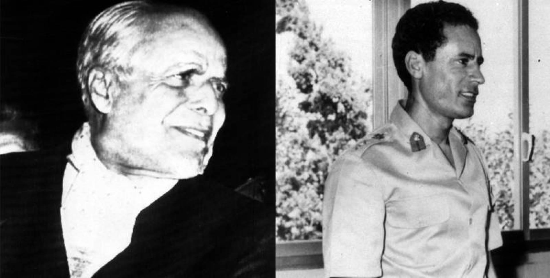 من اليمين الرئيس معمر القذافي ثم الرئيس الحبيب.. أرشيفية