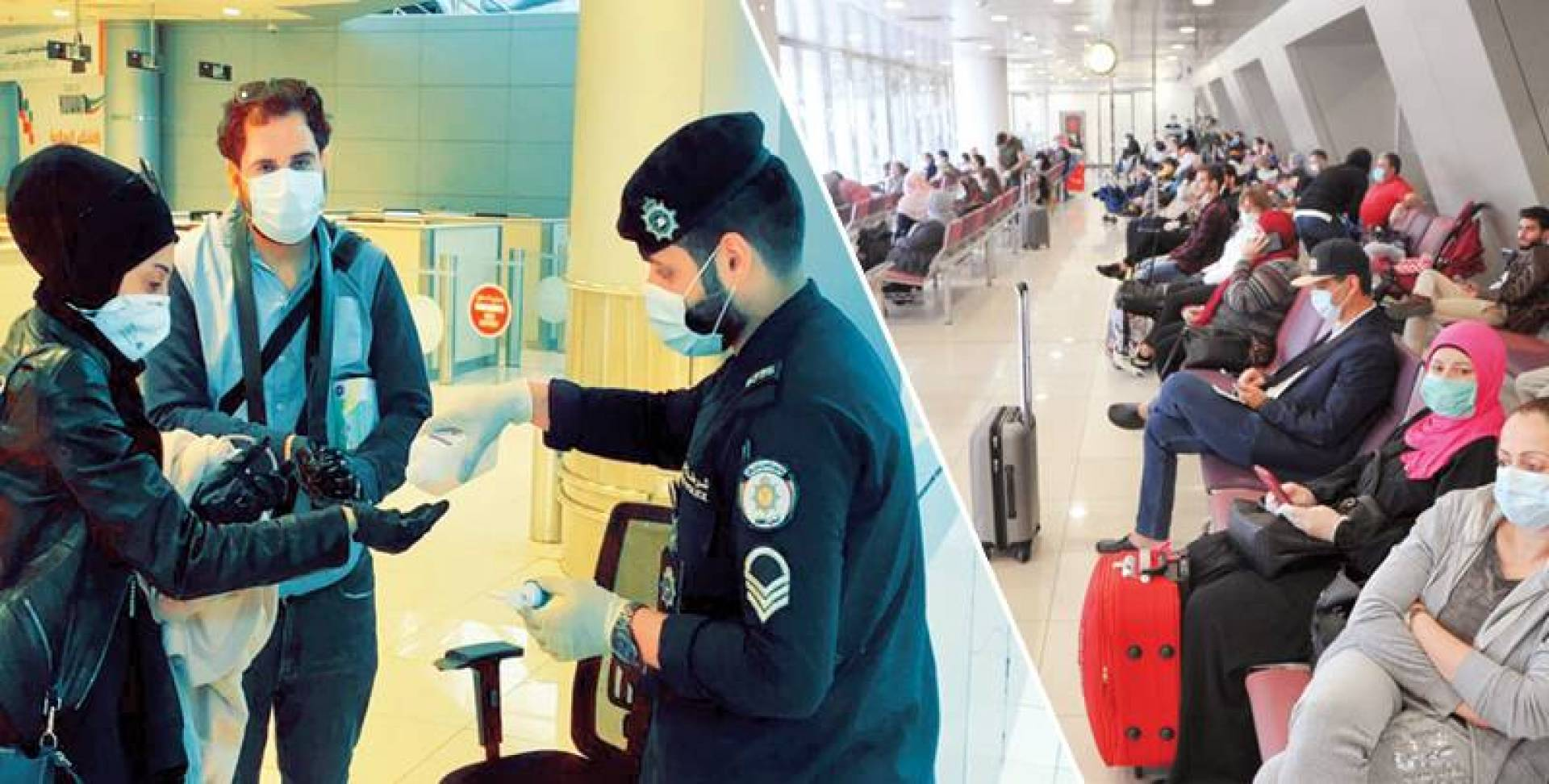 المغادرون في مطار الكويت الدولي - تعقيم قبل المغادرة