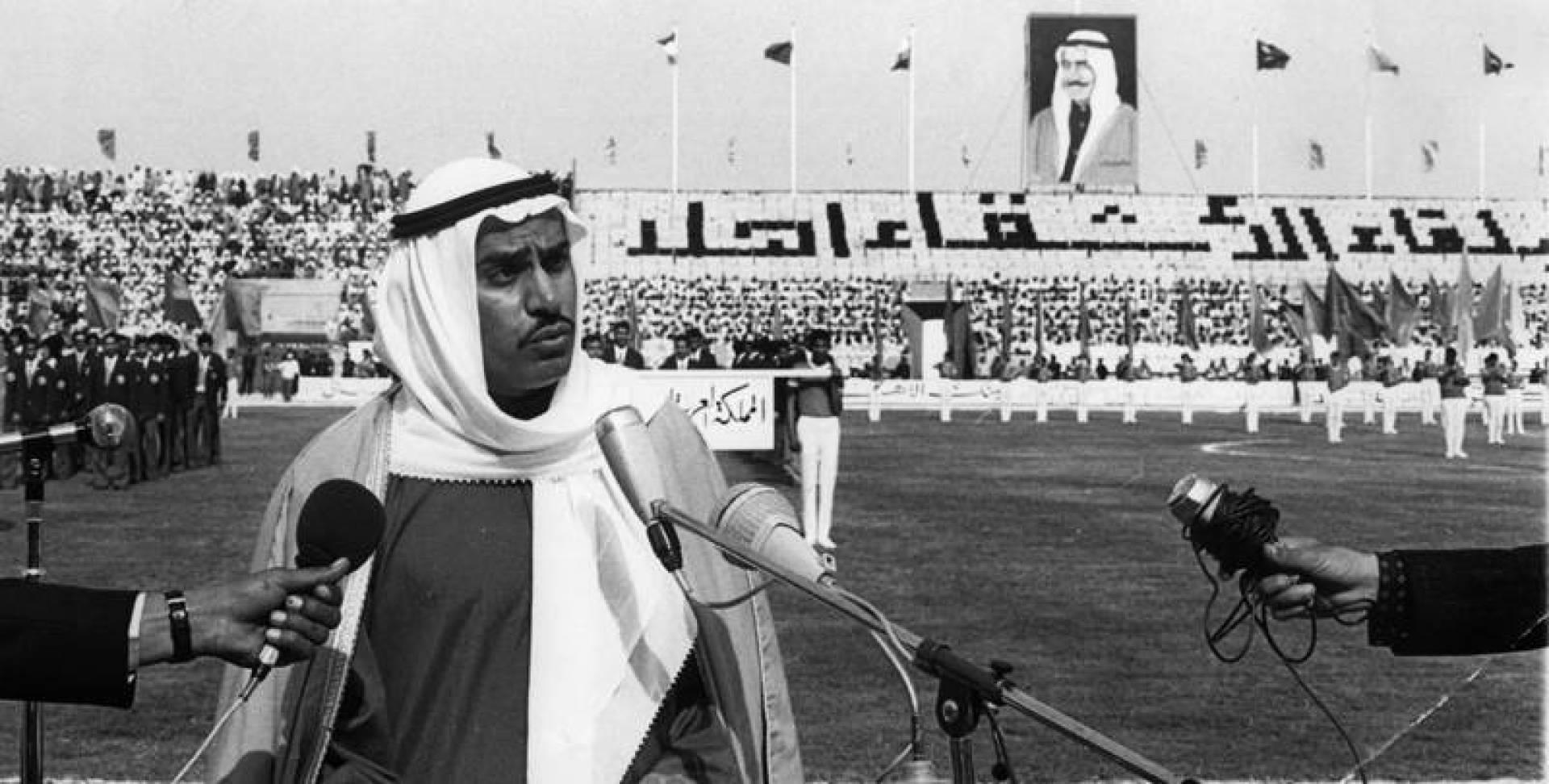أحمد السعدون يلقي كلمة اللجنة المنظمة لدورة كأس الخليج الثالثة