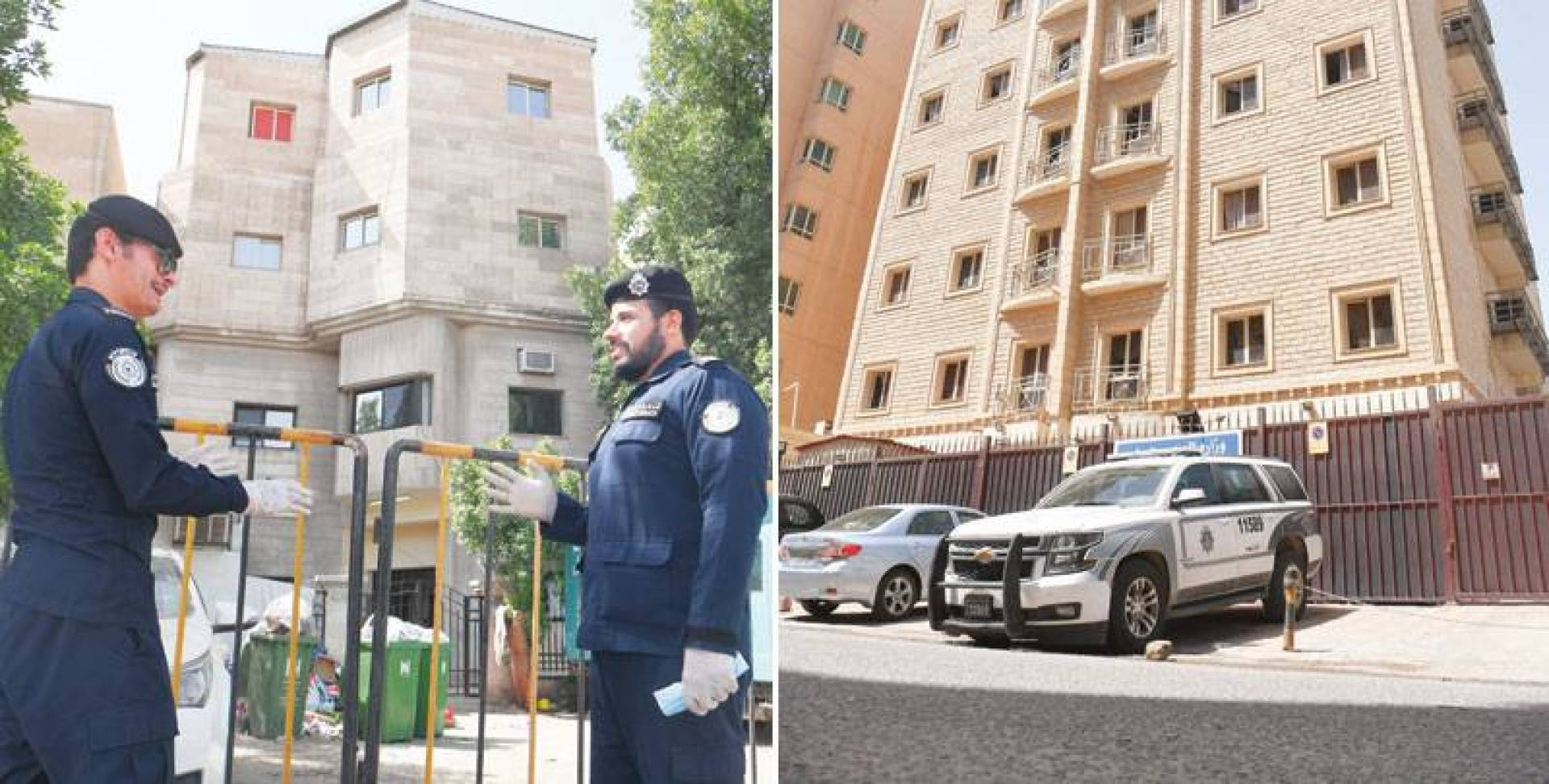 البناية المشمولة بالحجر في السالمية (تصوير: بسام زيدان) - حراسة أمنية أمام منزل الجليب