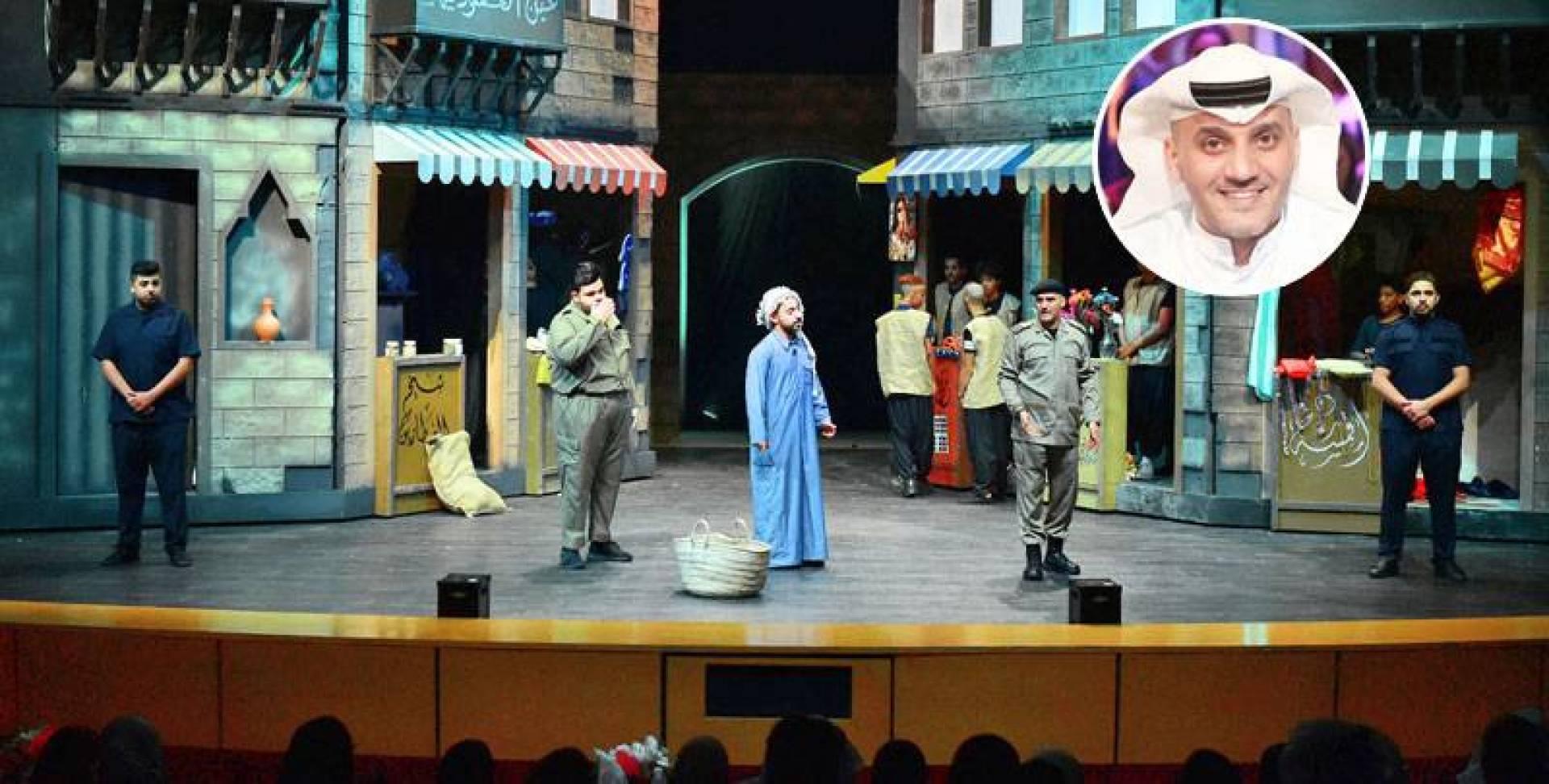 البريكي في مشهد من مسرحية «عودة ريا وسكينة» وفي الإطار خالد البريكي