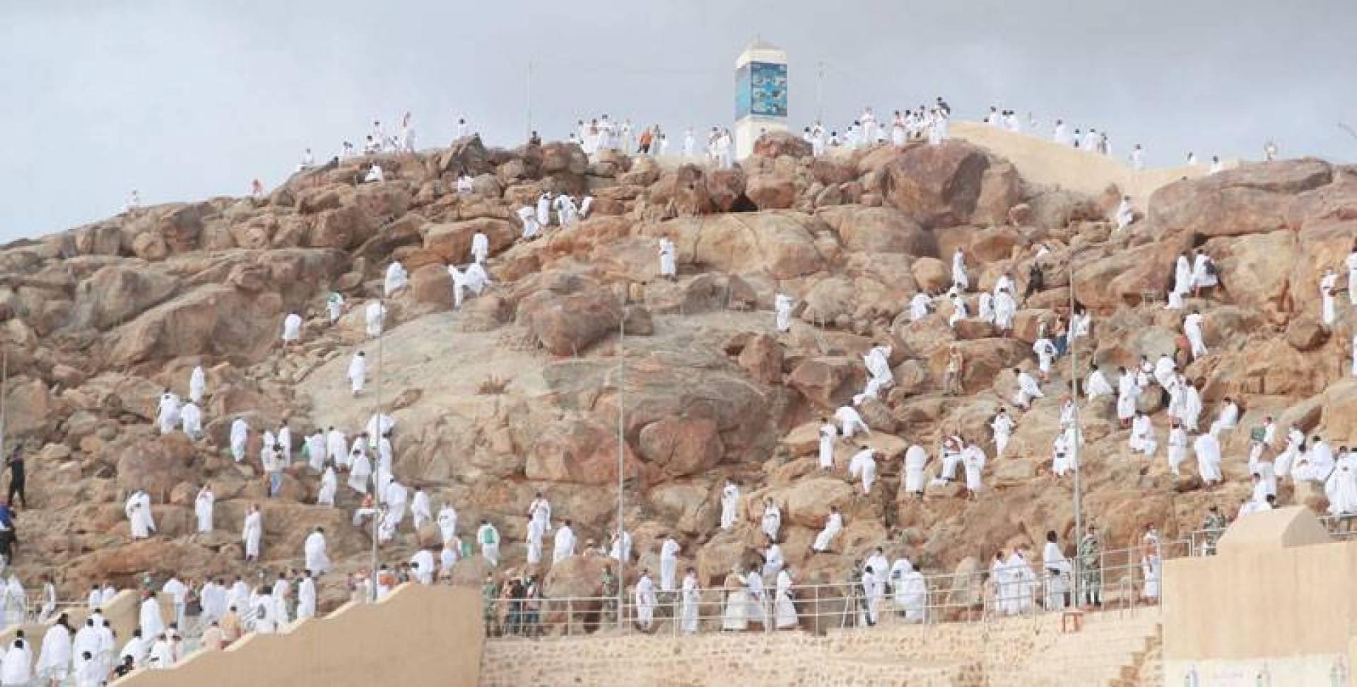 حجاج بيت الله الحرام يؤدون الركن الأعظم على جبل عرفات أمس (أ.ف.ب)