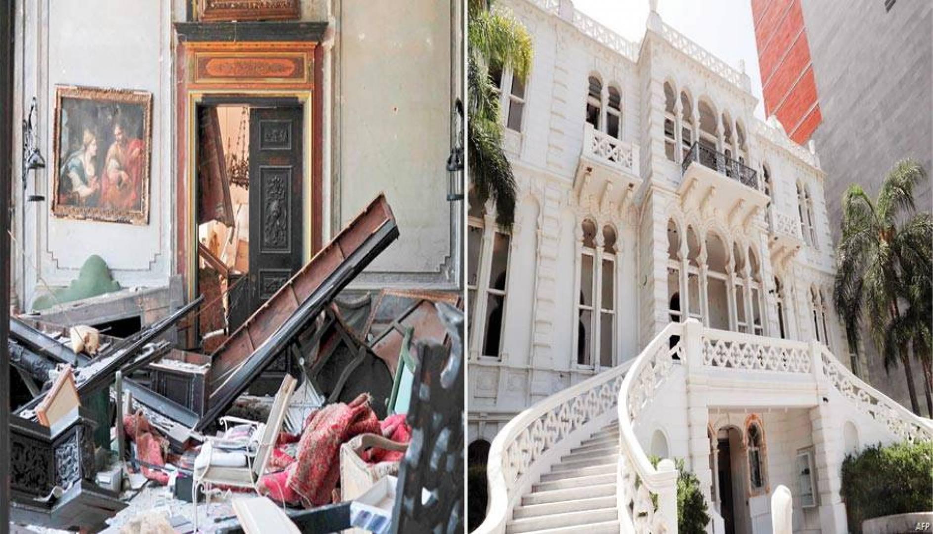 انفجار المرفأ دمر قصر سرسق الذي يعود بناؤه إلى القرن التاسع عشر (أ. ب) - الانفجار الهائل فعل بالقصر ما لم تفعله حربان عالميتان وحرب أهلية (أ. ب)