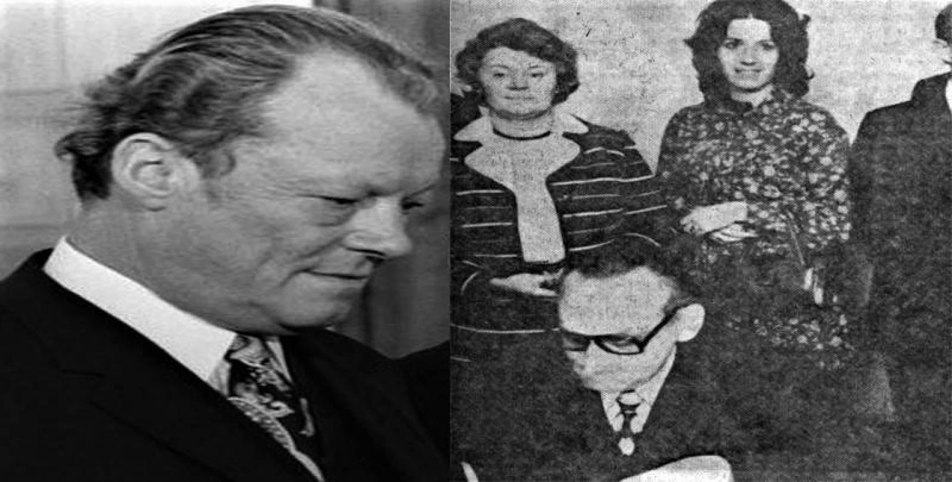 في الإطار ماري لويز عشيقة برانت وأمامها الوزير باهر .. والمستشار الألماني الغربي فيلي برانت.. أرشيفية
