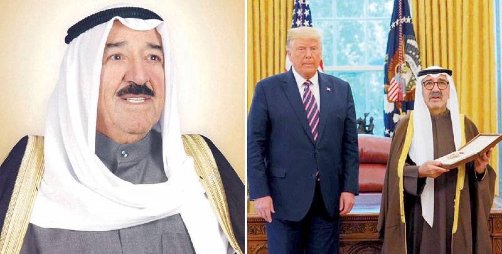 ناصر الصباح نيابة عن سمو الأمير متسلماً وسام الاستحقاق من الرئيس الأميركي