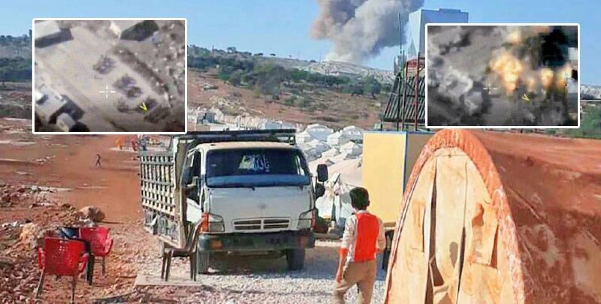 الدخان متصاعداً من معسكر فيلق الشام.. وفي الإطار صور جوية تظهر استهداف حفل تخريج مقاتلين