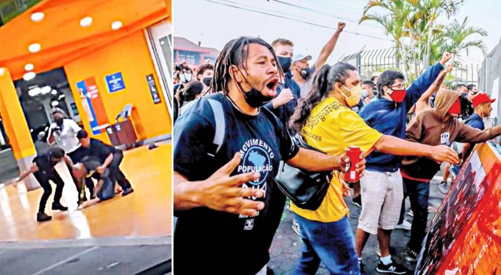 احتجاجات في ريو غراندي دو سول  البرازيل على مقتل الرجل الأسمر جواو فريتاس - صورة تُظهر ضرب الحارسينِ الضحيةَ
