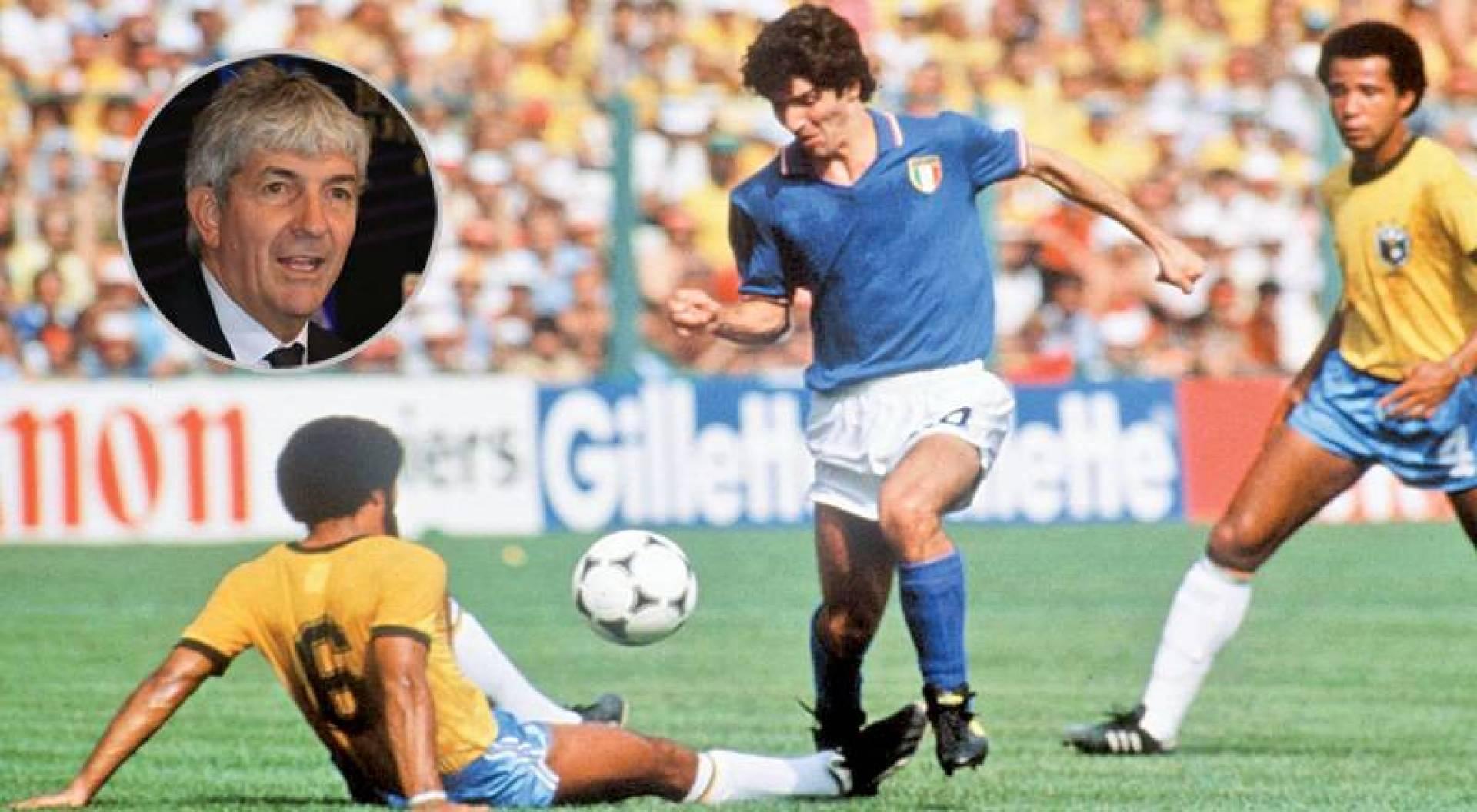 روسي خلال مباراة البرازيل في مونديال 1982 وفي الإطار الراحل باولو روسي