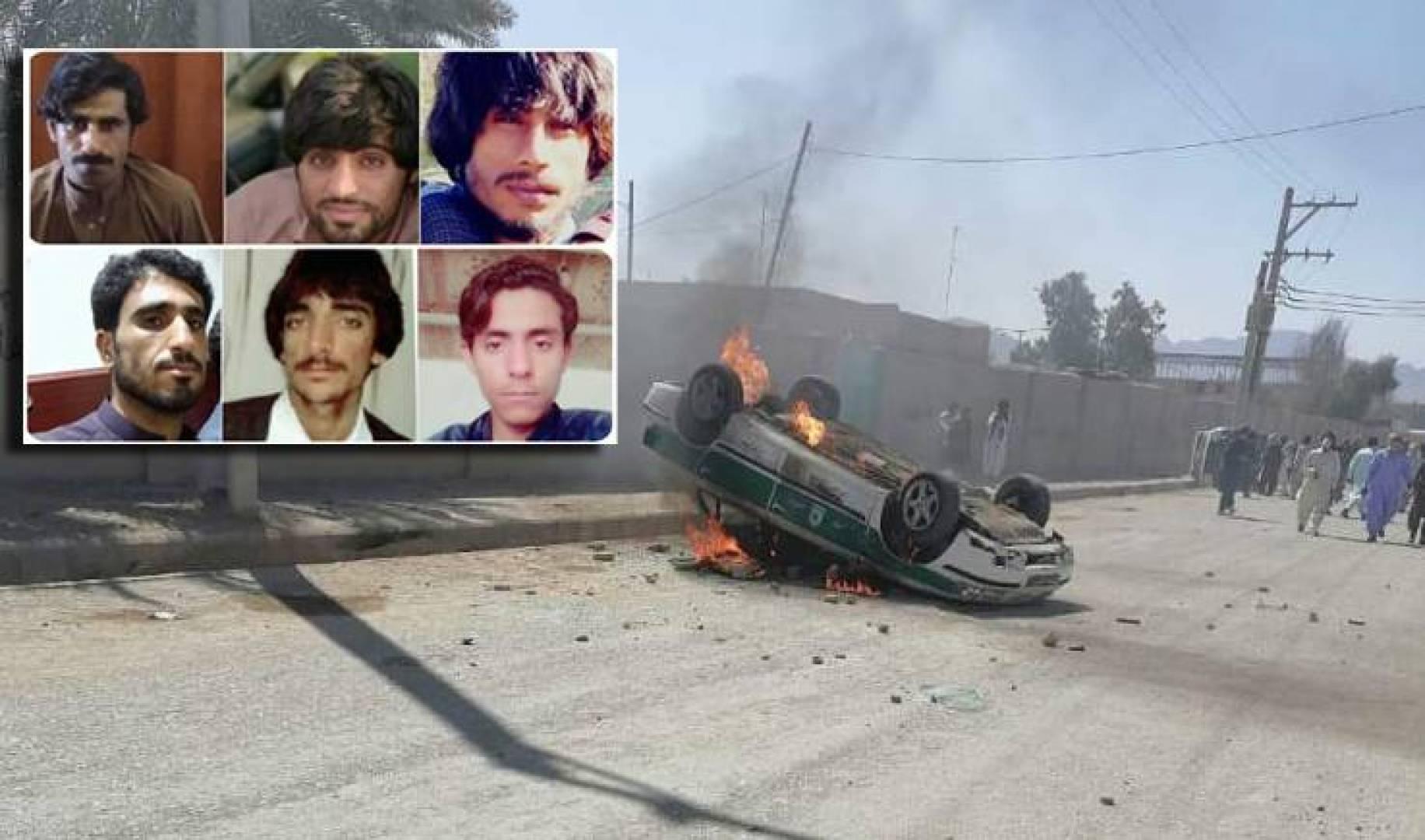 حرق سيارات الشرطة.. وفي الإطار صور بعض الأشخاص الذين قتلتهم قوات الأمن الإيرانية